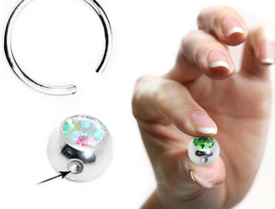 4mm 5mm 6mm SPARE CBR BCR CAPTIVE BEAD RING BALL DIMPLE DIAMANTE GEM REPLACEMENT