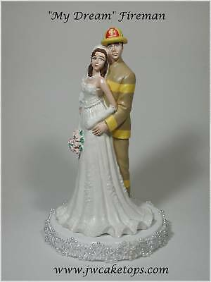 Fireman Tan Gear Brunette Bride Wedding Caketop 49FT2