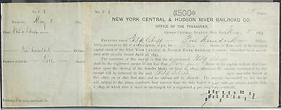 1st Stock Share Certificate Issued - NY Central & Hudson River Railroad Co.