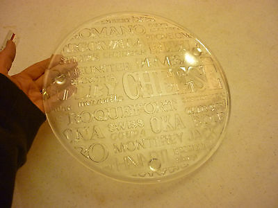 "Vintage 11"" Round Cheese Cake Serving Tray Heavy Solid Glass - Decorated Ornate"