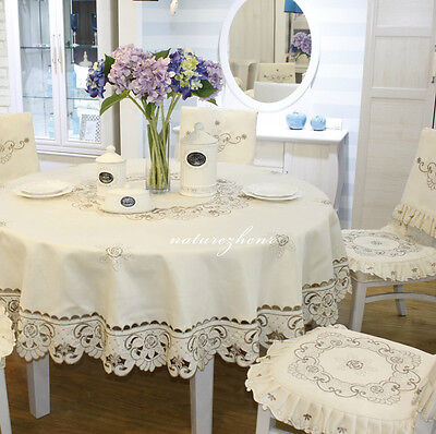 HBZ4 Traditional Floral Table chair cloth lace Damask Table Linen Round square