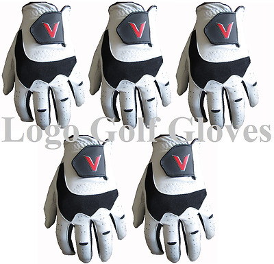 5 Golf Gloves Cabretta Leather Palm V Logo 4 Small Medium M/L Large Extra Large