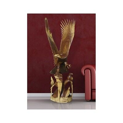 Extra Large Natural Wooden Hunting Eagle statue | 200cm