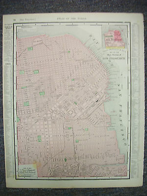 Antique 1895 Map, SAN FRANCISCO with State of California on Reverse