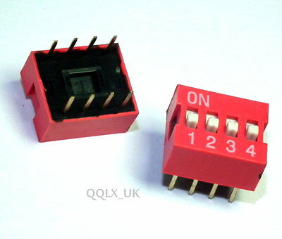 1pcs Red 2.54mm Pitch 8 pins 4 Positions Ways Slide Type DIP Switch - UK seller