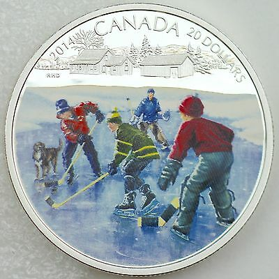 2014 /'Pond Hockey/' Colorized Proof $20 Silver Coin 1oz .9999 Fine *No Tax 13333