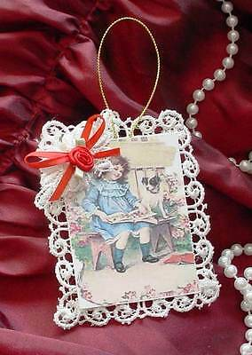 New Handmade Vintage Style Victorian Christmas Card Tree Ornament - Reading