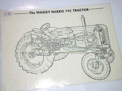 Massey Harris 745 poster ghost view black & white A3 laminated