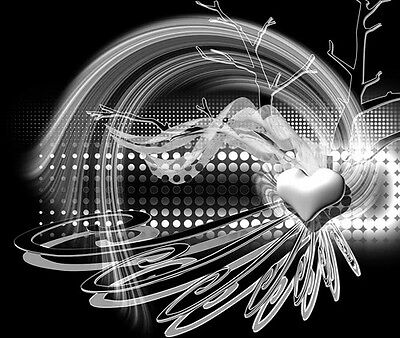 Black and White Absract Heart Auction Template