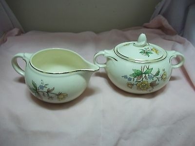 Antique Taylor Smith Taylor Pottery Yellow Creamer Covered Sugar Bowl Set Floral