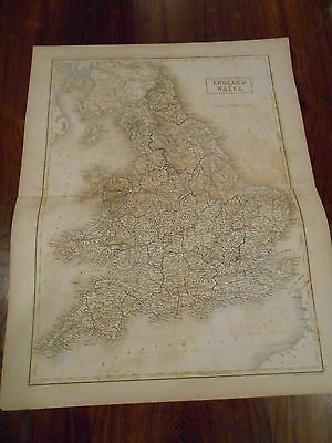 Large engraved map of England and Wales. Hand colored outline. circa 1850.