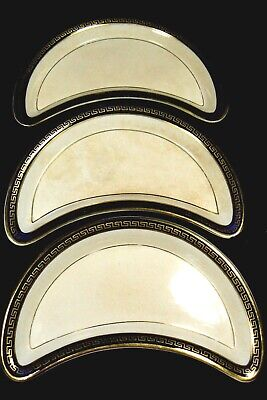 Lot of 3 Booths England Silicon Cina Plate Crescent Cobalt Blue Gold Greek Key