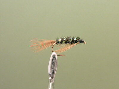 3 X DIAWL BACH GREEN CHEEK NYMPH WET TROUT FLIES sizes 10 14 12 16  available