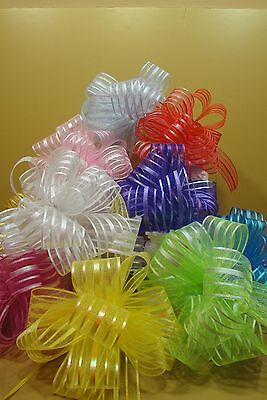 """12 STRIPE SHEER  PULL BOW 2"""" WIDE NYLON RIBBON( CHOOSE ANY COLORS)($1.00 a piece"""