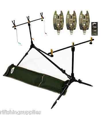 Brand New Carp Fishing Multi Rod Pod + Indicators + 3 Camo Bite Alarms Set Up
