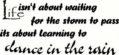 LIFE Dance Rain Quote Letter Words Room Mural Wall Art Sticker Decal Home Decor