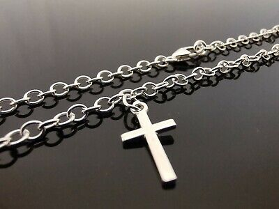 """3mm Sterling Silver Bracelet Or Ankle Chain Anklet Cross Charm 7"""" 8"""" 9"""" 10"""" 11"""""""