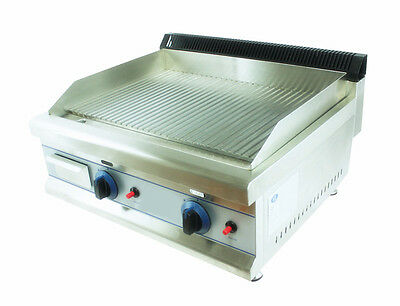 NEW FULLY RIBBED HEAVY DUTY NATURAL GAS GRIDDLE HOTPLATE 60cm bed