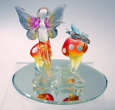 New Hand Blown Glass Fairy on Mushroom Butterlfy Glitter Wings Oval Glass Mirror