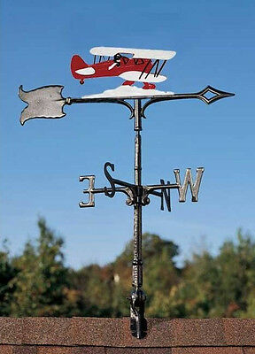"Red Baron Airplane Weathervane-Vintage 30"" Garden Bi-plane Vane with Arrow"