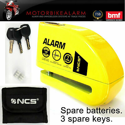 NCS MOTORCYCLE Motorbike Disc Lock ALARM Yellow Jaws.  New Key. Carry pouch