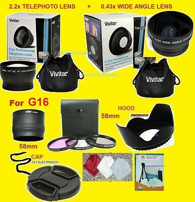 23pcs: 0.43X WIDE 2.2X TELEPHOTO LENS+ADAPTER for CANON G16 G 16 POWERSHOT 58mm