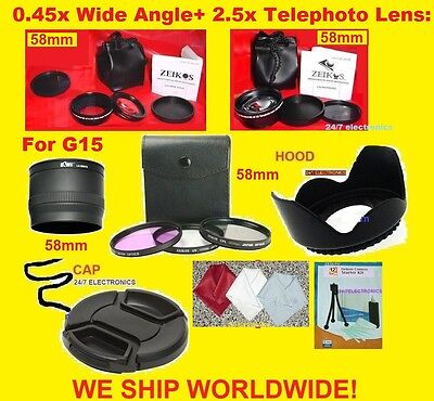 23pcs: 0.45X WIDE 2.5X TELEPHOTO LENS+ADAPTER for CANON G16 G 16 POWERSHOT 58mm+