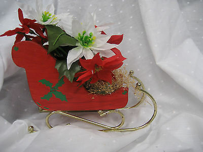 Vintage wooden hand painted sleigh with metal