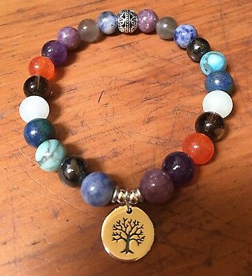 ॐCrystal Blissॐ Anxiety Stress Calming Good Luck Spiritual Bracelet w Tree Charm