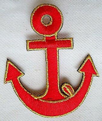 CUTE PRETTY RED GOLDEN ANCHOR Embroidered Iron on Patch Free Shipping