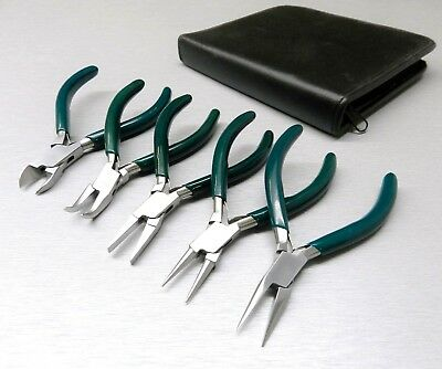 "5 Pc Jewelers Pliers Set Jewelry Making Beading Wire Wrapping Hobby 5"" Plier Kit"