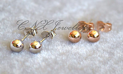 18K Rose White Gold GP Silver Ball Earring Studs Perfect for Kids and You