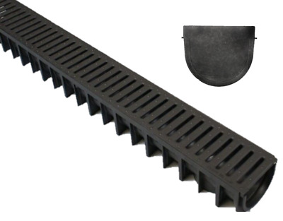 Pack 5 DEEP Heavy Duty Plastic Drainage Channel With Plastic Grating Made In UK