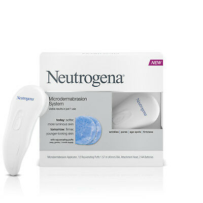 NEW Neutrogena #1 Microdermabrasion Cleansing System SKIN CLEANER KIT + 12 PUFFS