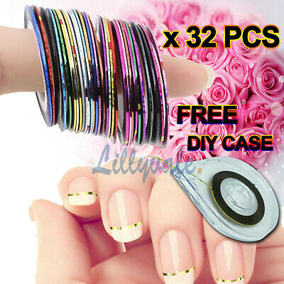 32 Colors Nail Sticker Rolls Striping Tape Line Nail Art Uv Gel Tips Diy Kit