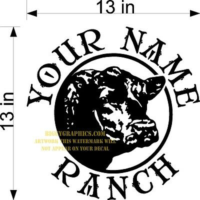 Custom Vinyl Decal Your Name Ranch Cattle Cow Angus Head Profile New!