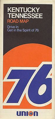 1972 UNION 76 Road Map KENTUCKY TENNESSEE Louisville Nashville Memphis Lexington