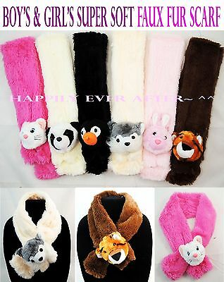 Boy's & Girl's Super Soft Animal Faux Fur Scarf - Kid's & Teen's Winter Scarf