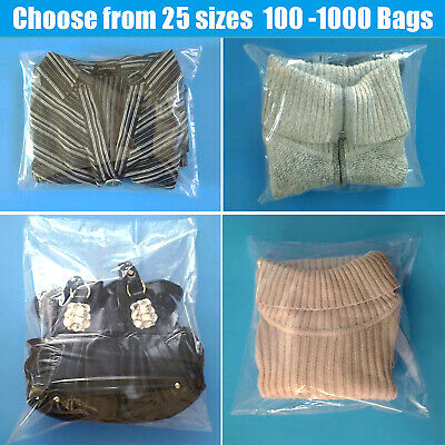 "3 - 20"" Clear Poly Bags 1-Mil Lay-Flat Open Top End Plastic 100 200 500 1000 ml"