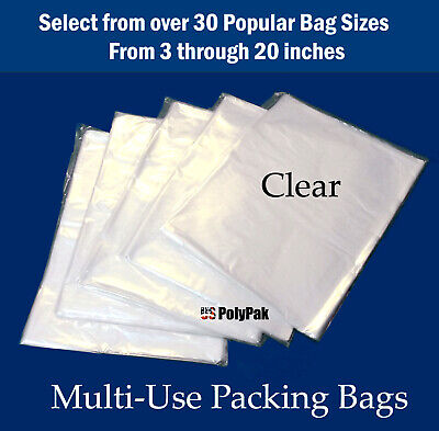 Clear Plastic Poly 100, 200, 300, 500, 1000 Flat 1-Mil Baggies Open Top  Bags