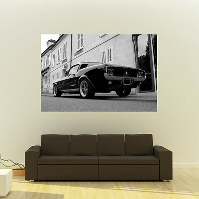 Poster of Ford Mustang Fastback Giant B&W Muscle Car Huge Print 54x36 Inches