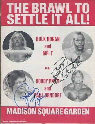 EB6235 Roddy Piper & Paul Orndorff signed Original WWF Wrestlemania Program
