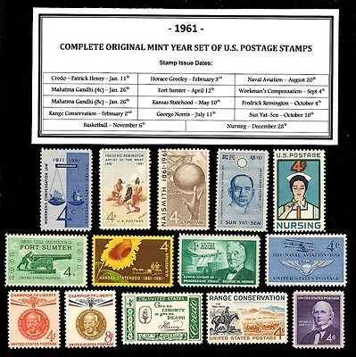 1961 Complete Year Set Of Mint Nh (Mnh) Vintage U.s. Postage Stamps