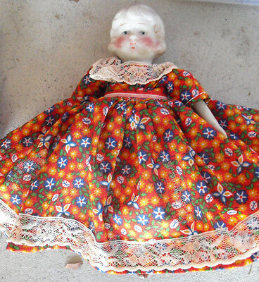 """Vintage 1930s Bisque and Cloth Japan Made Little Girl Doll 7"""" Tall"""