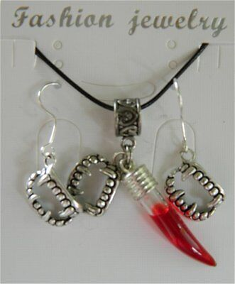 Vampire Blood Vial Fangs Pendant and Earrings set