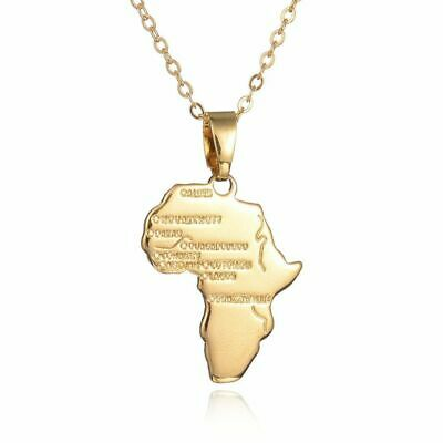 Gold Africa Necklace Pendant & 22 Inch Chain Rasta Reggae Afro Black African