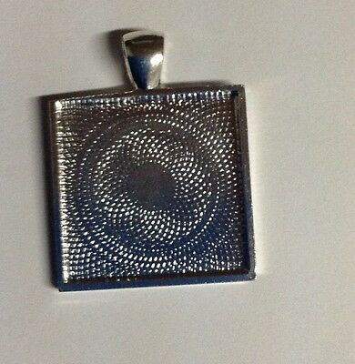 10 X 1inch Silver Plated Square Blank Pendants, Cabochon Settings