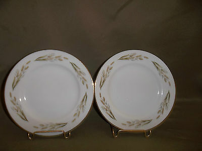 TWO VINTAGE KYOTO FINE CHINA BREAD/BUTTER PLATES PATTERN GOLD WHEAT