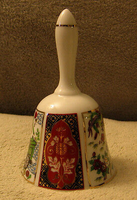 Vintage IMARI Japanese Porcelain Bell w/ Handpainted Flowers Carriage & Phoenix