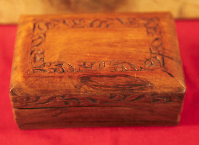 Vintage Cigar Box with Hand Carved Pattern